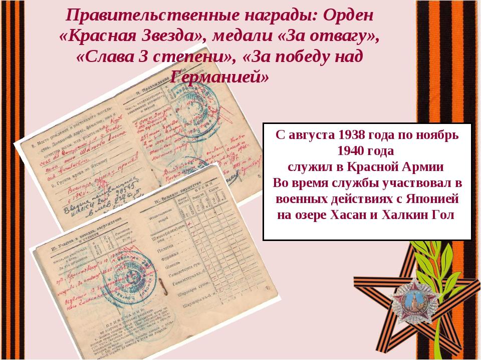Правительственные награды: Орден «Красная Звезда», медали «За отвагу», «Слава...