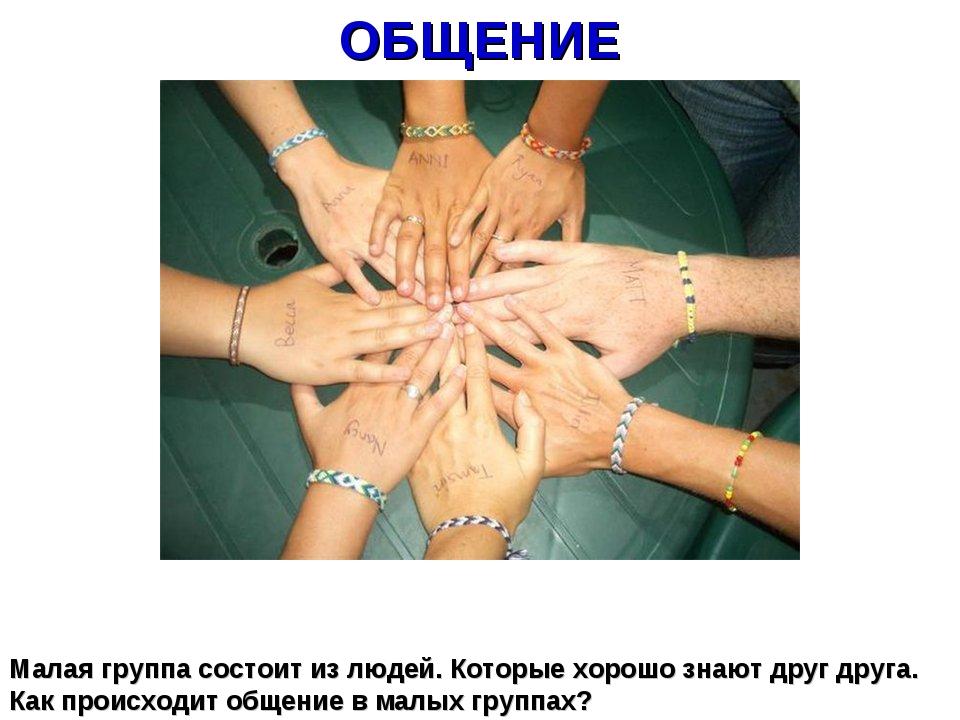 ОБЩЕНИЕ Малая группа состоит из людей. Которые хорошо знают друг друга. Как п...