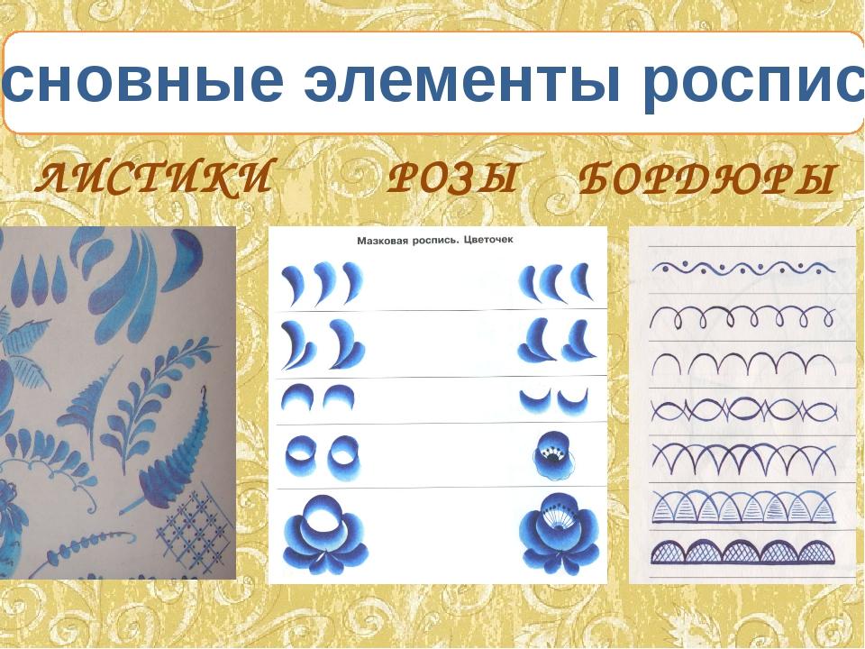 ЛИСТИКИ РОЗЫ БОРДЮРЫ Основные элементы росписи