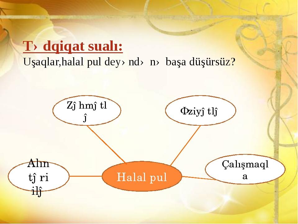 Tədqiqat sualı: Uşaqlar,halal pul deyəndə nə başa düşürsüz? Halal pul Zəhmətl...