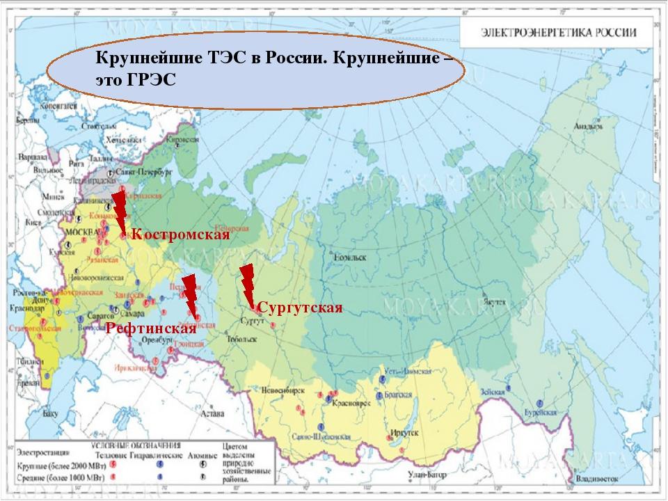 Крупнейшие ТЭС в России. Крупнейшие – это ГРЭС Костромская Рефтинская Сургут...