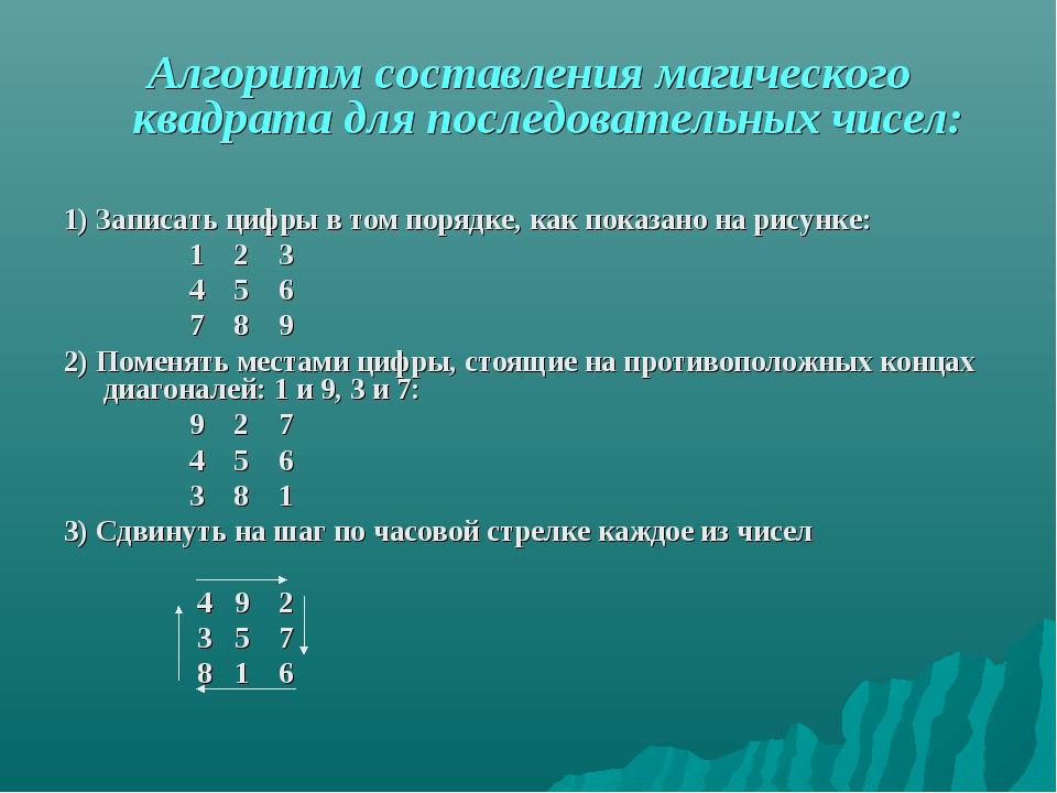 Алгоритм составления магического квадрата для последовательных чисел: 1) Запи...