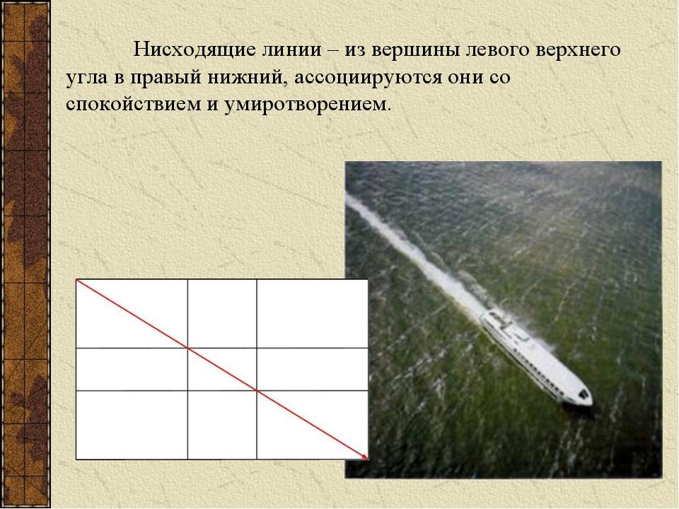 Нисходящие линии – из вершины левого верхнего угла в правый нижний, ассоциир...