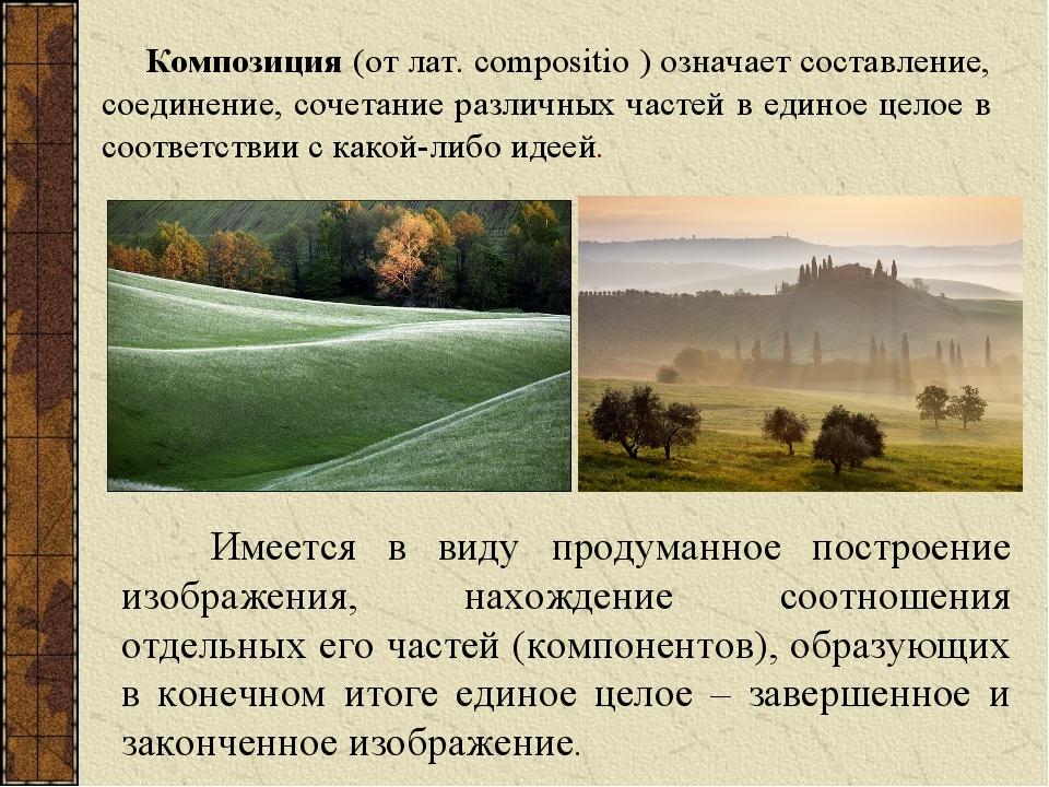 Композиция (от лат. compositio ) означает составление, соединение, сочетание...