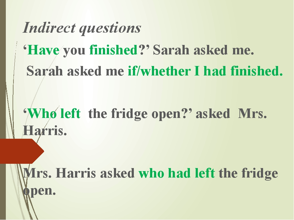Indirect questions 'Have you finished?' Sarah asked me. Sarah asked me if/whe...
