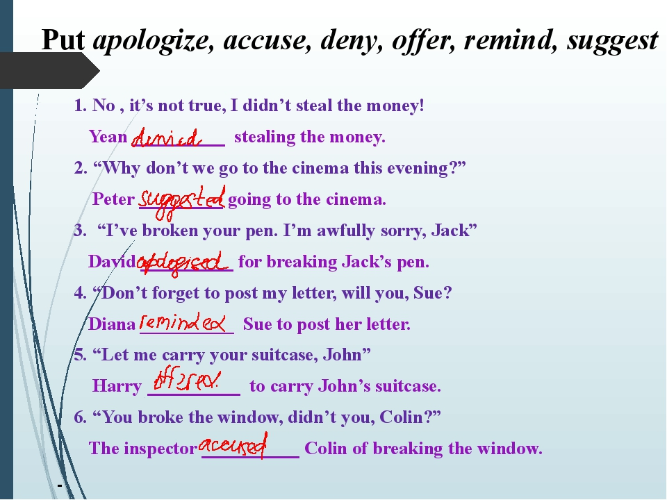 Put apologize, accuse, deny, offer, remind, suggest 1. No , it's not true, I...