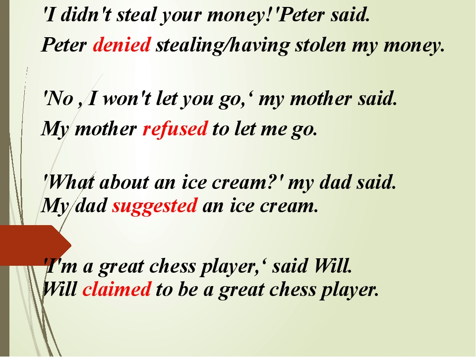 'I didn't steal your money!'Peter said. Peter denied stealing/having stolen...
