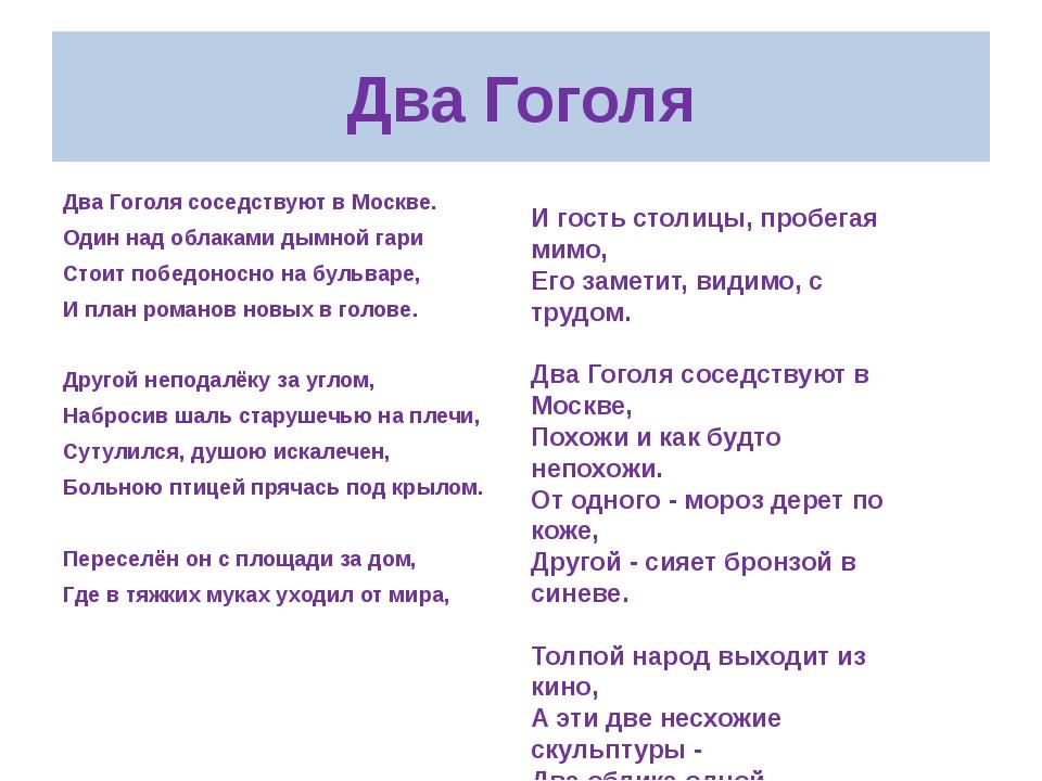 Два Гоголя Два Гоголя соседствуют в Москве. Один над облаками дымной гари Сто...