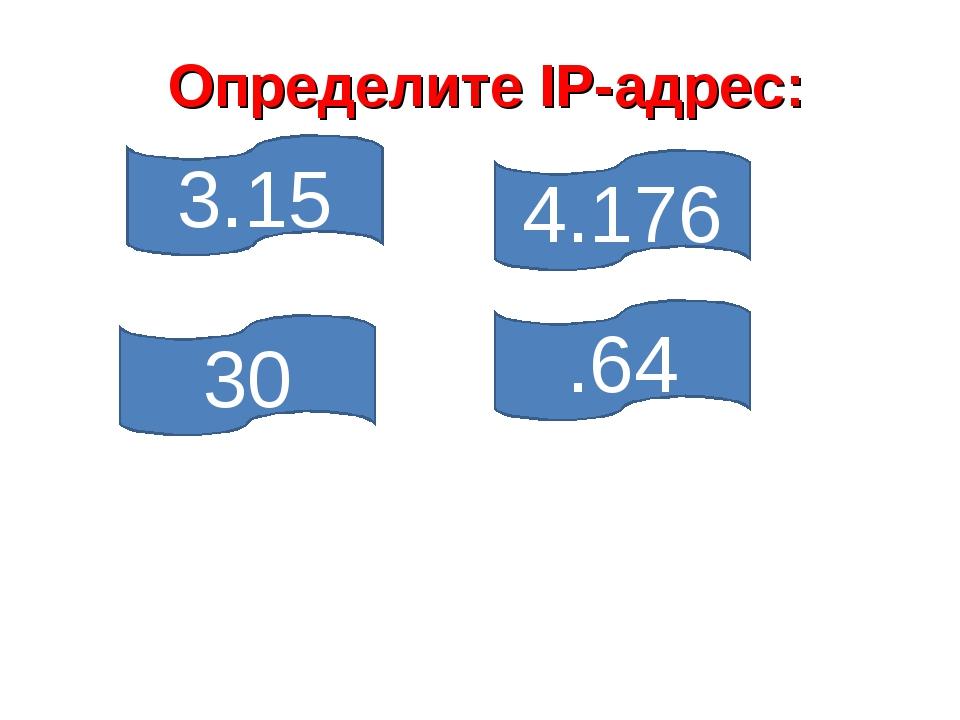 .64 4.176 30 3.15 Определите IP-адрес: