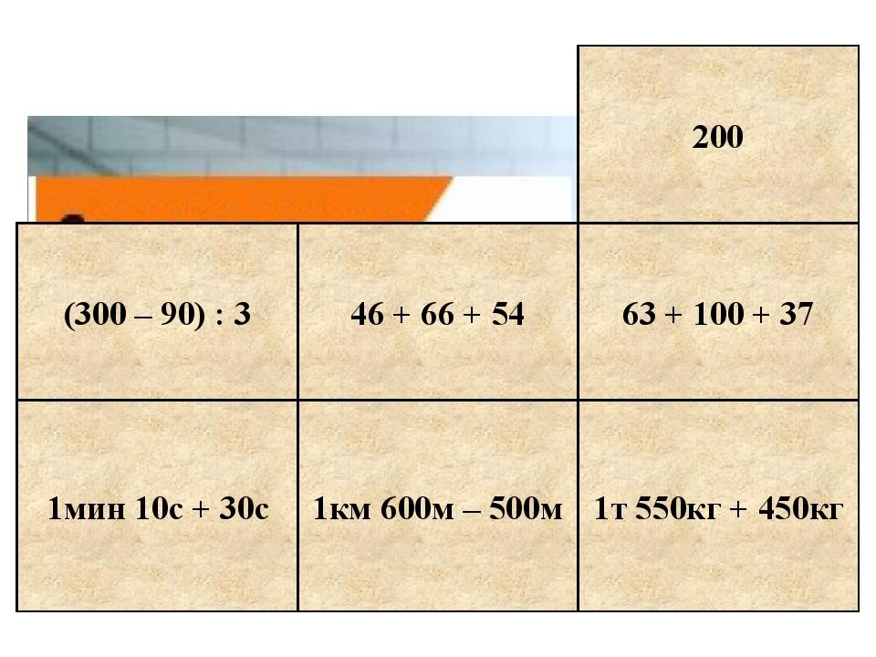 1мин 10с + 30с 1км 600м – 500м 1т 550кг + 450кг 63 + 100 + 37 200 (300 – 90)...