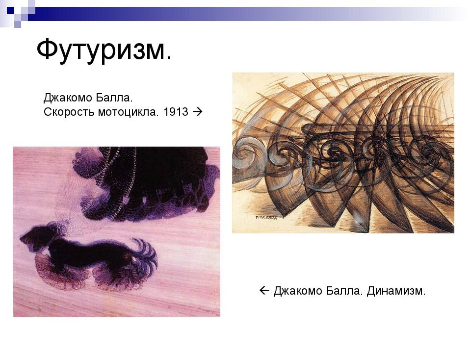 Футуризм.  Джакомо Балла. Динамизм. Джакомо Балла. Скорость мотоцикла. 1913 
