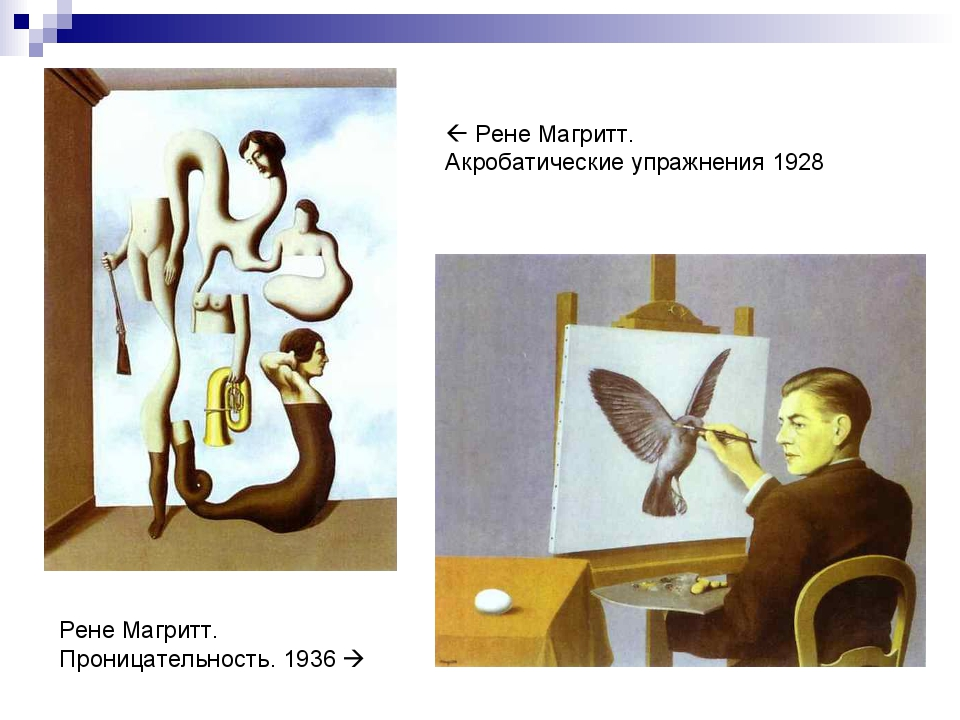  Рене Магритт. Акробатические упражнения 1928 Рене Магритт. Проницательность...