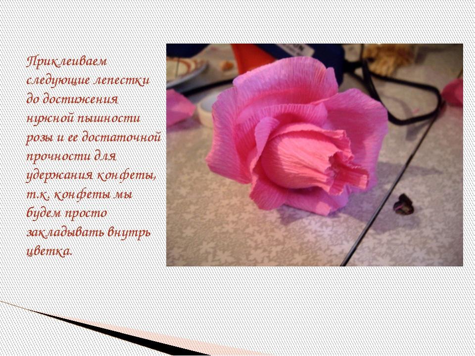 Приклеиваем следующие лепестки до достижения нужной пышности розы и ее доста...