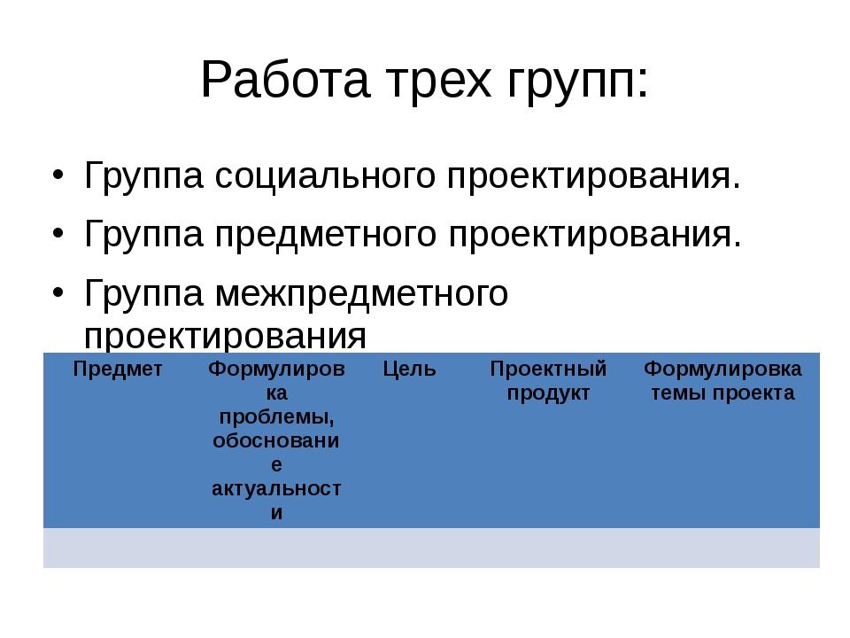 Работа трех групп: Группа социального проектирования. Группа предметного прое...