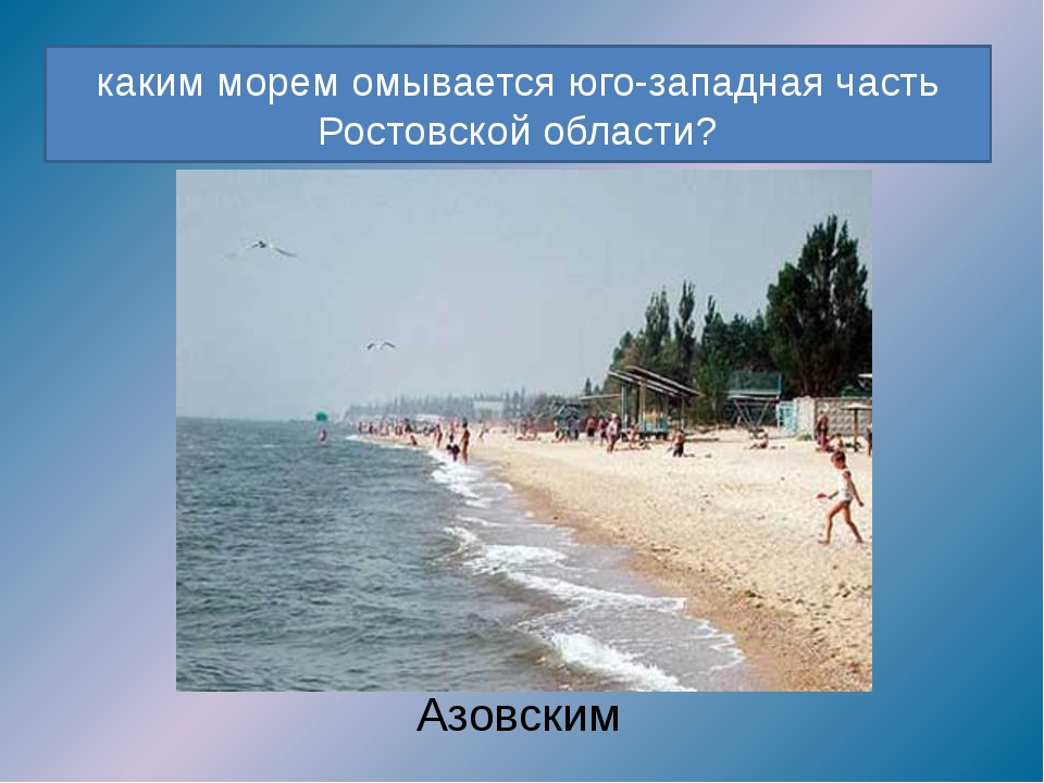 каким морем омывается юго-западная часть Ростовской области? Азовским