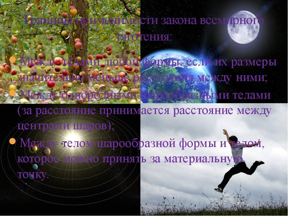 Границы применимости закона всемирного тяготения: Между телами любой формы, е...