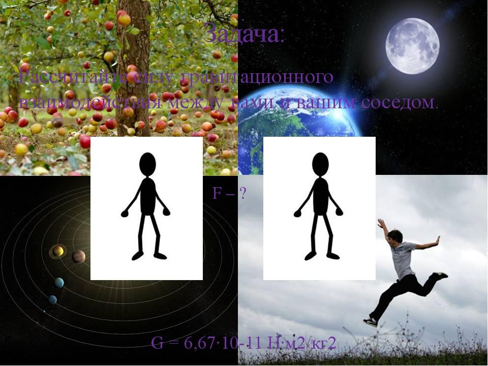 Задача: Рассчитайте силу гравитационного взаимодействия между вами и вашим со...