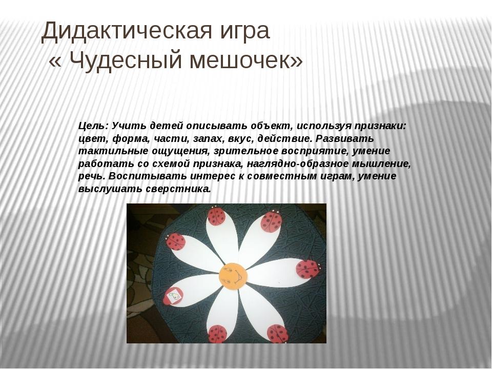 Дидактическая игра « Чудесный мешочек» Цель: Учить детей описывать объект, ис...