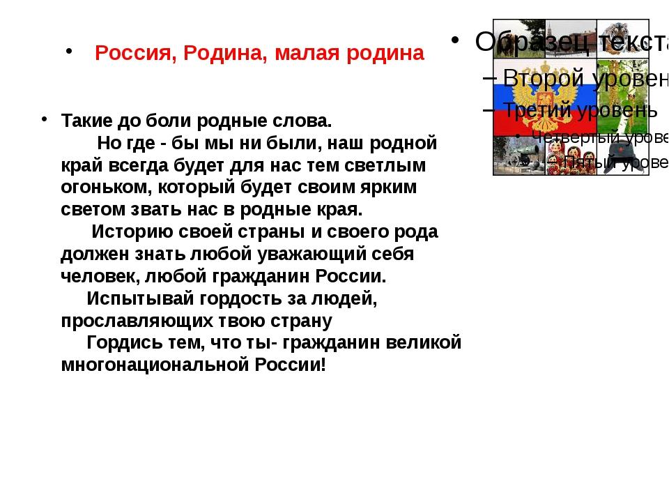 Россия, Родина, малая родина Такие до боли родные слова. Но где - бы мы ни б...