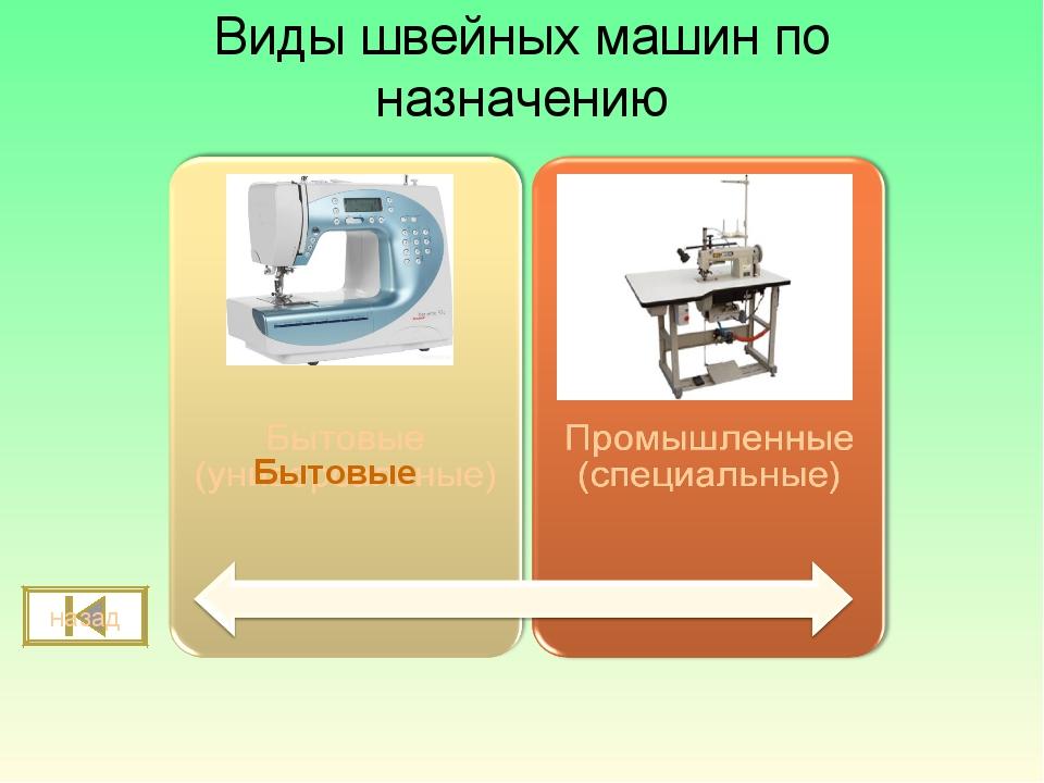 Виды швейных машин по назначению назад Бытовые