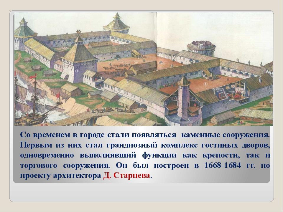 Со временем в городе стали появляться каменные сооружения. Первым из них стал...
