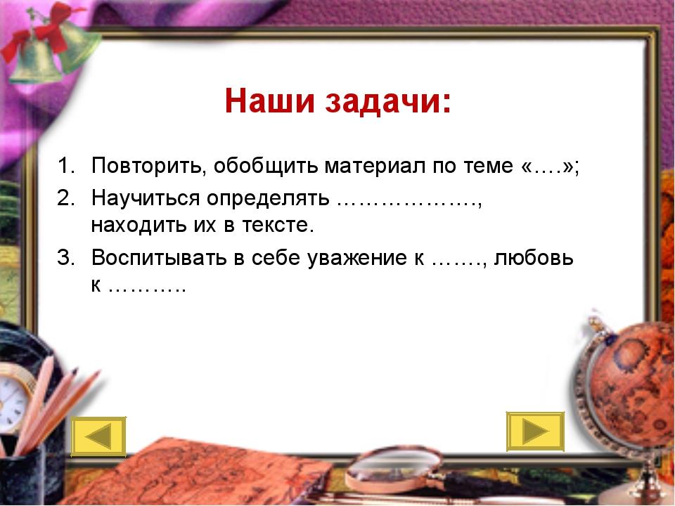 Наши задачи: Повторить, обобщить материал по теме «….»; Научиться определять...