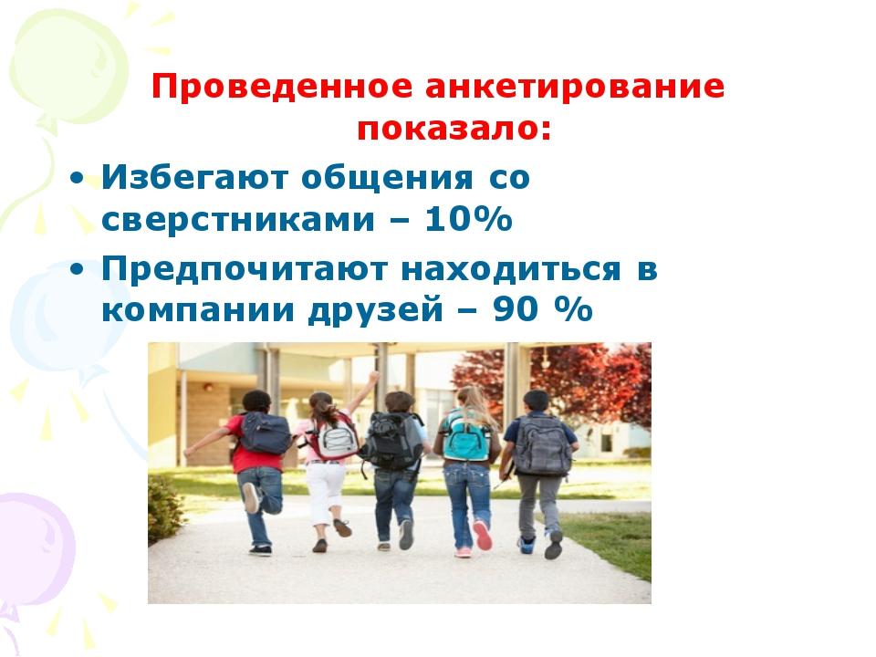 Проведенное анкетирование показало: Избегают общения со сверстниками – 10% Пр...