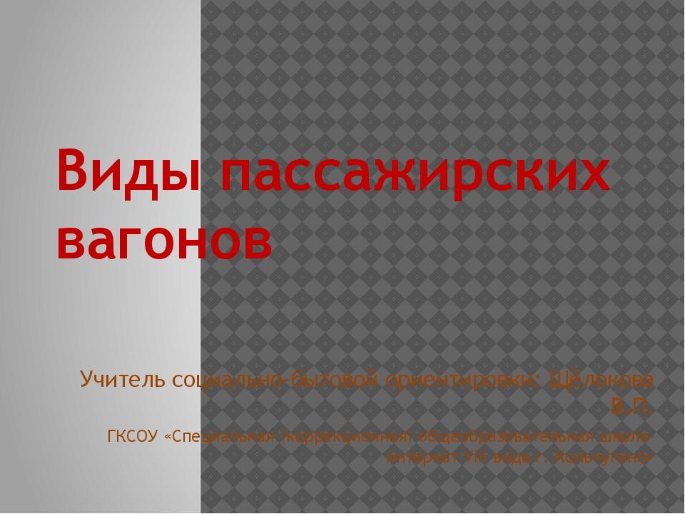 Виды пассажирских вагонов Учитель социально-бытовой ориентировки: Щёлокова В....