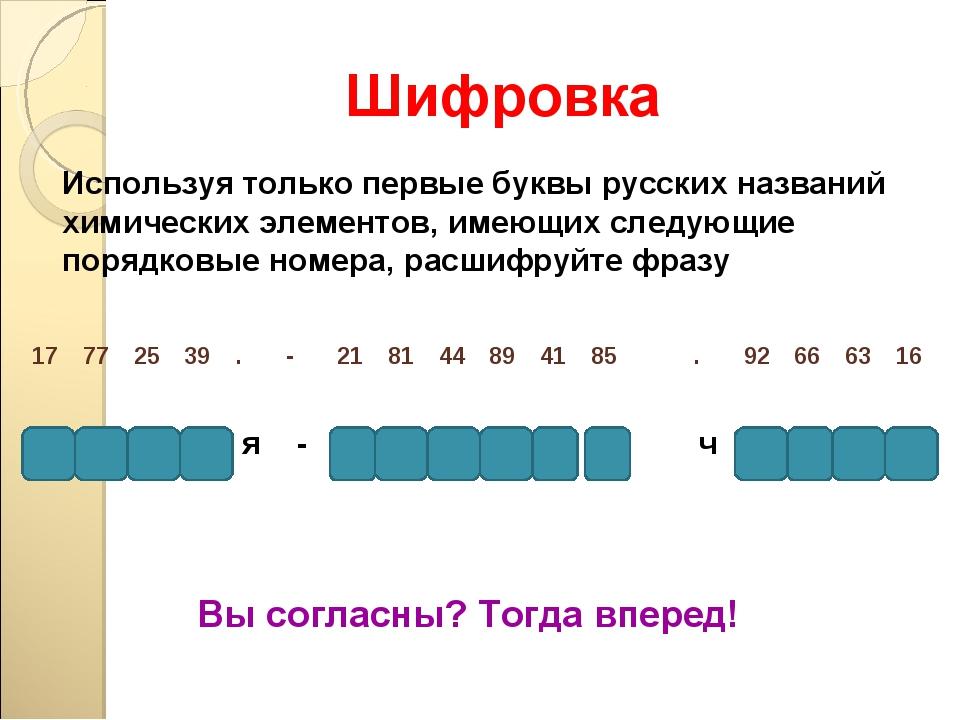 Шифровка Используя только первые буквы русских названий химических элементов,...