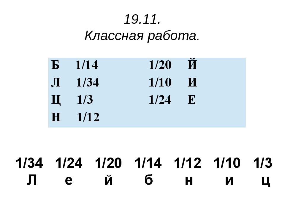19.11. Классная работа. 1/34 1/24 1/20 1/14 1/12 1/10 1/3 Л е й б н и ц Б1/1...