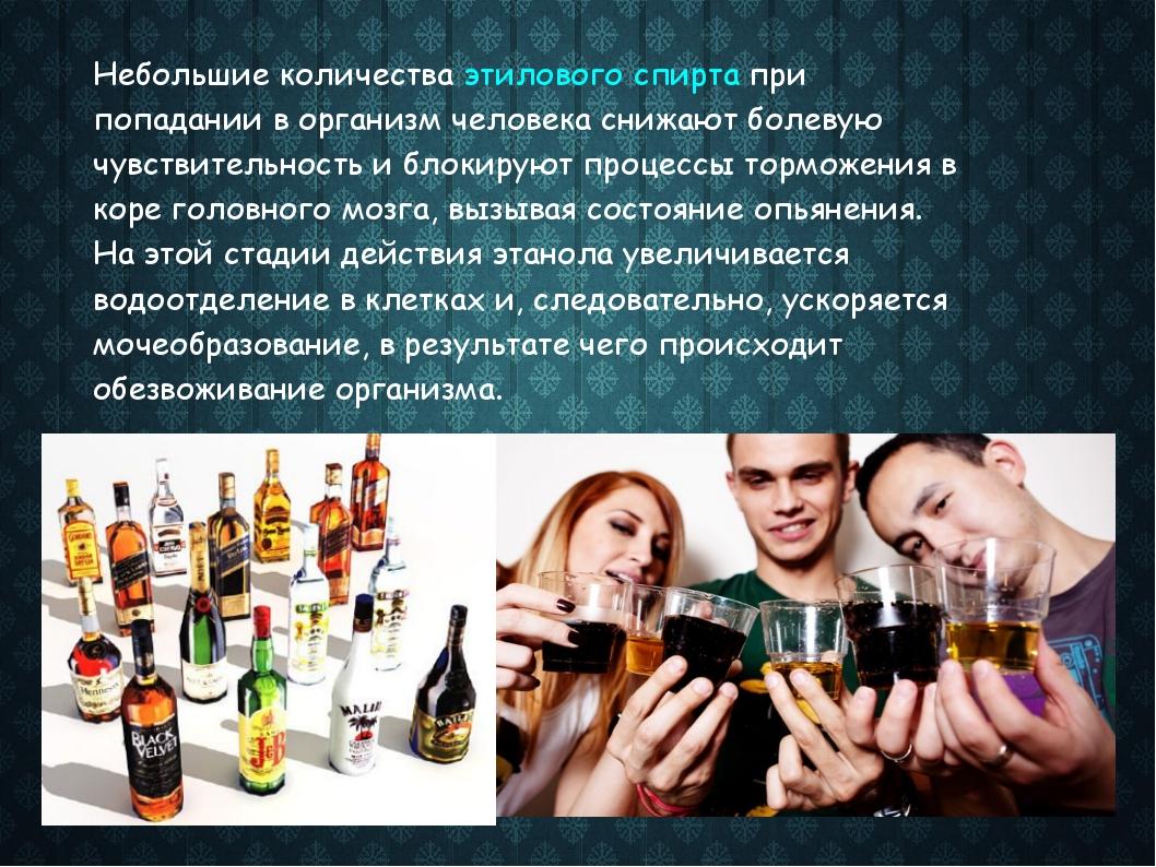 Небольшие количества этилового спирта при попадании в организм человека снижа...