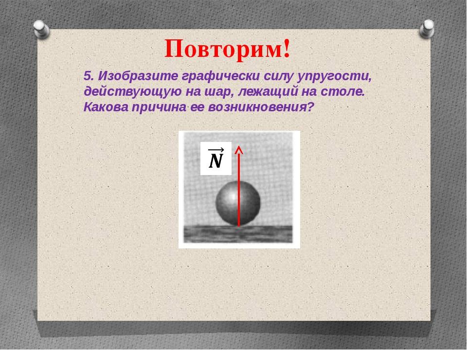 Повторим! 5. Изобразите графически силу упругости, действующую на шар, лежащи...