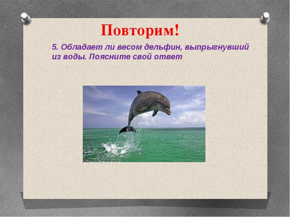 Повторим! 5. Обладает ли весом дельфин, выпрыгнувший из воды. Поясните свой о...