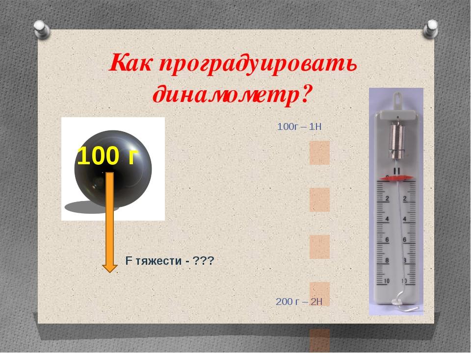 Как проградуировать динамометр? 100г – 1Н 200 г – 2Н 100 г F тяжести - ???