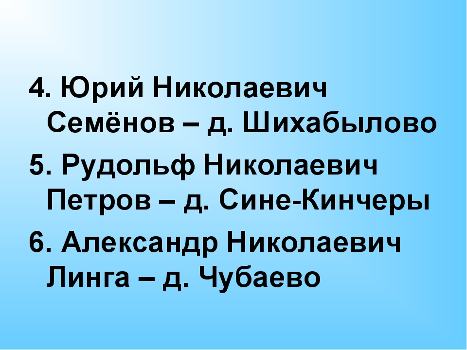 4. Юрий Николаевич Семёнов – д. Шихабылово 5. Рудольф Николаевич Петров – д....