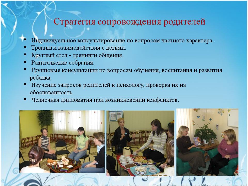 Стратегия сопровождения родителей Индивидуальное консультирование по вопросам...