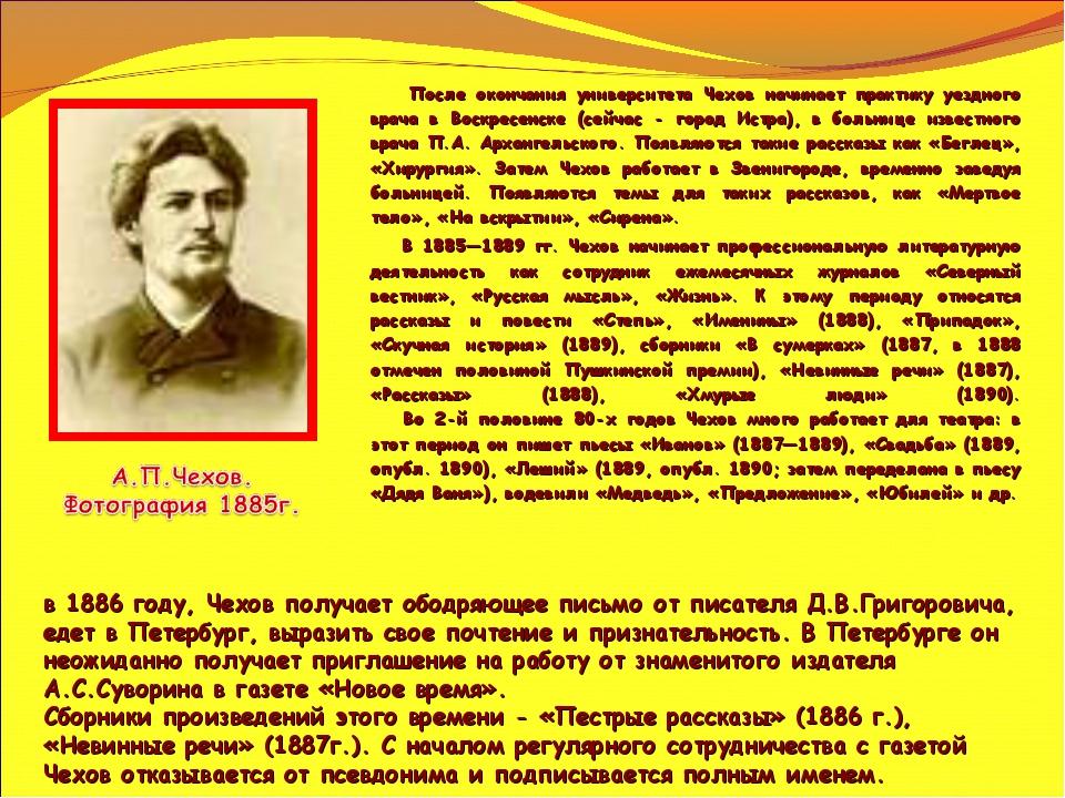 После окончания университета Чехов начинает практику уездного врача в Воскре...