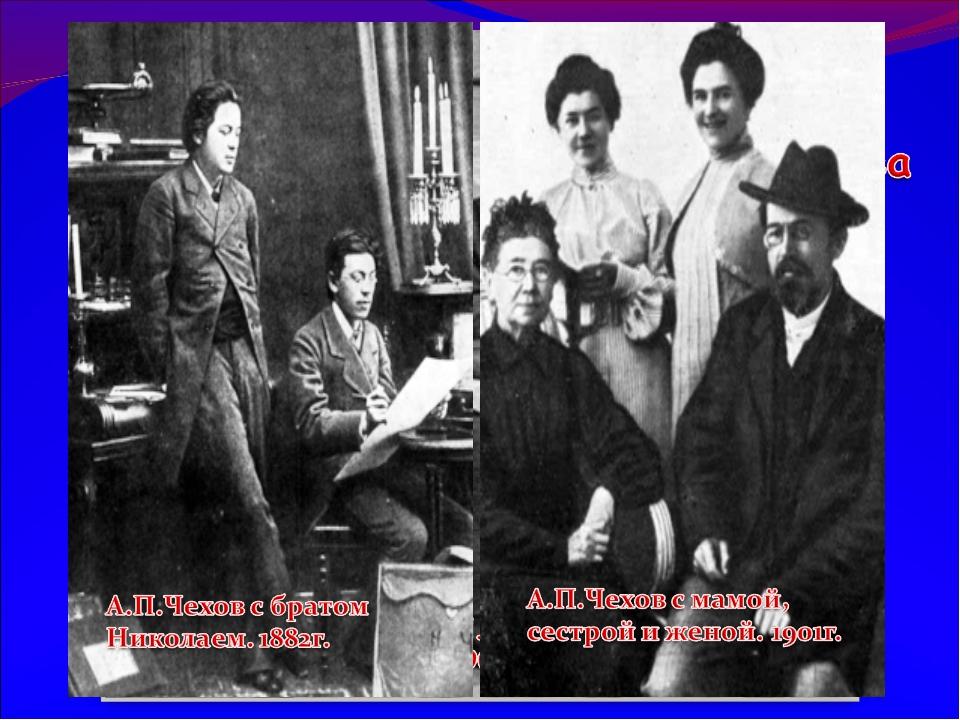 Семья Чеховых Чеховы: Мария, Антон ,Иван, Михаил