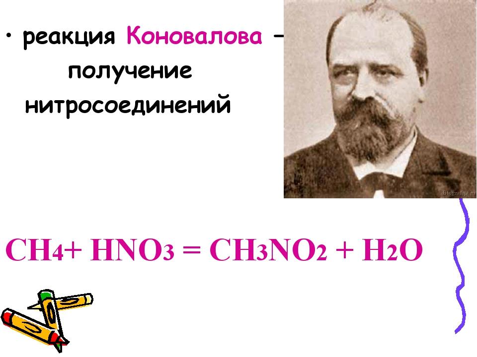реакция Коновалова — получение нитросоединений CH4+ HNO3 = CH3NO2 + H2O