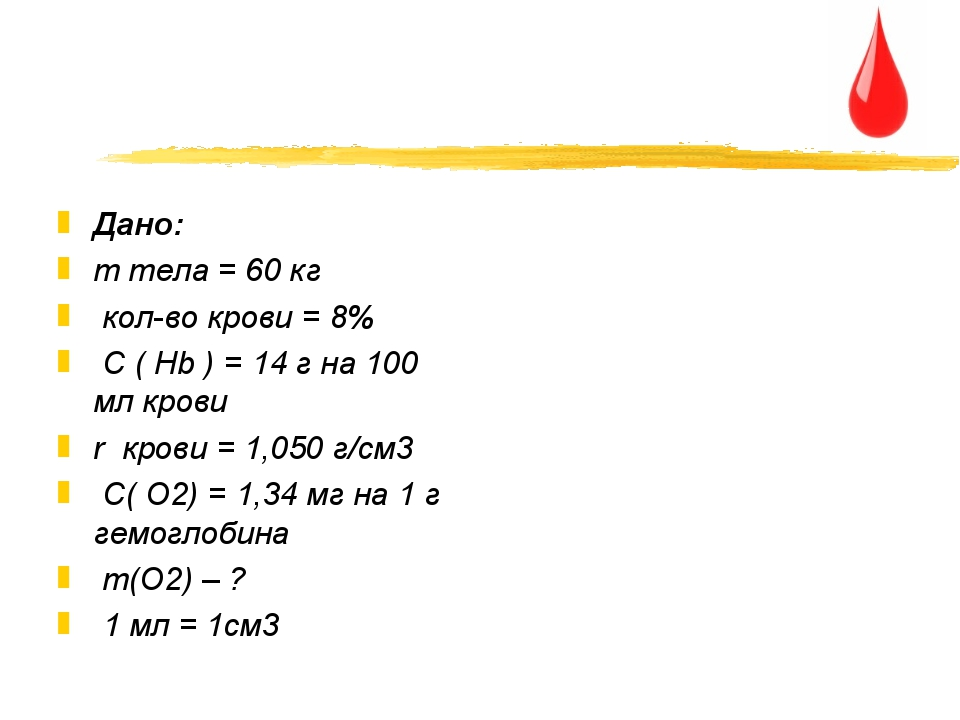 Дано: m тела = 60 кг кол-во крови = 8% C ( Hb ) = 14 г на 100 мл крови r кров...