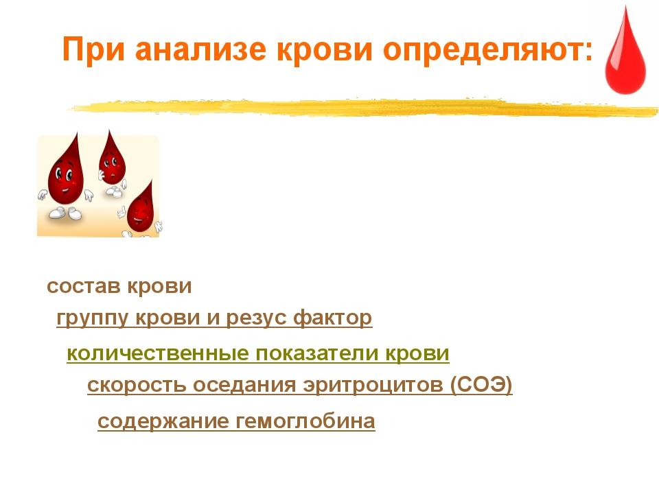 При анализе крови определяют: содержание гемоглобина скорость оседания эритро...