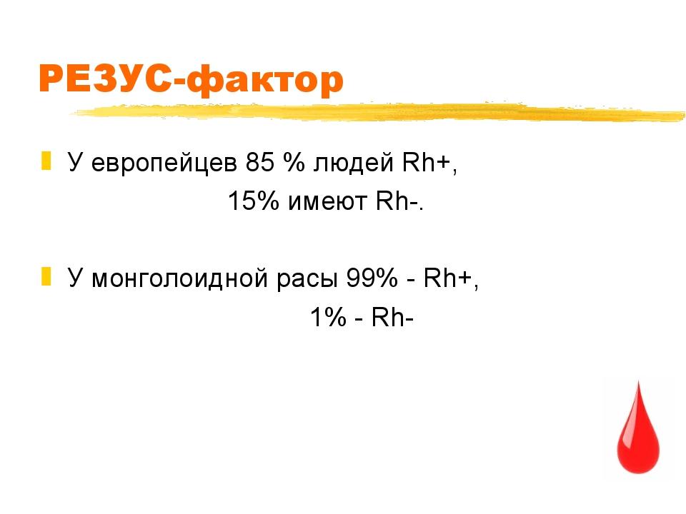 РЕЗУС-фактор У европейцев 85 % людей Rh+, 15% имеют Rh-. У монголоидной расы...