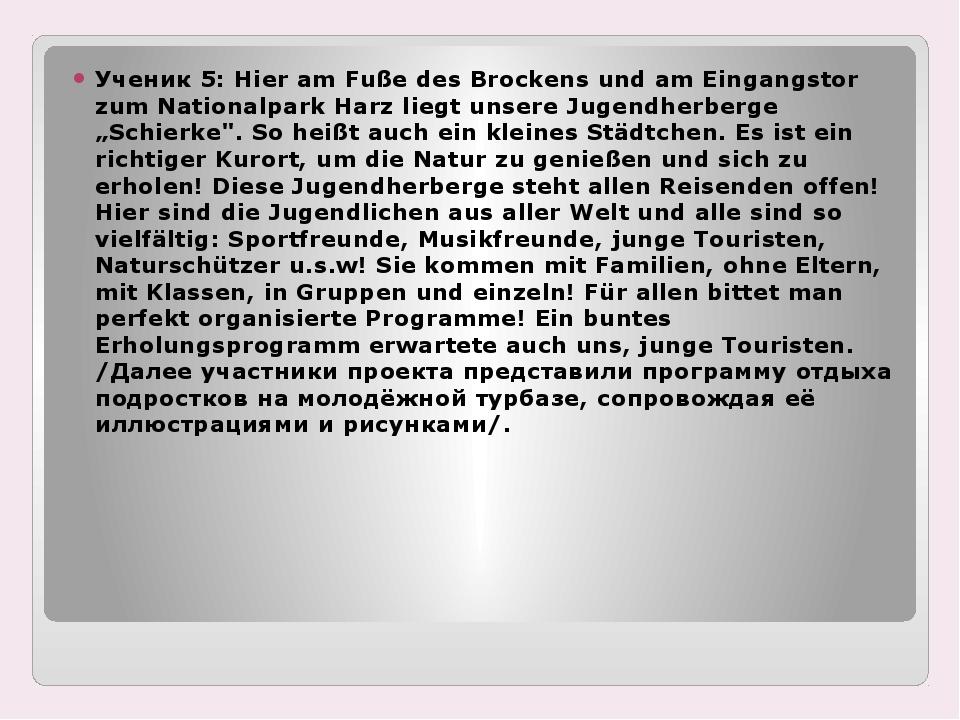 Ученик 5: Hier am Fuße des Brockens und am Eingangstor zum Nationalpark Harz...