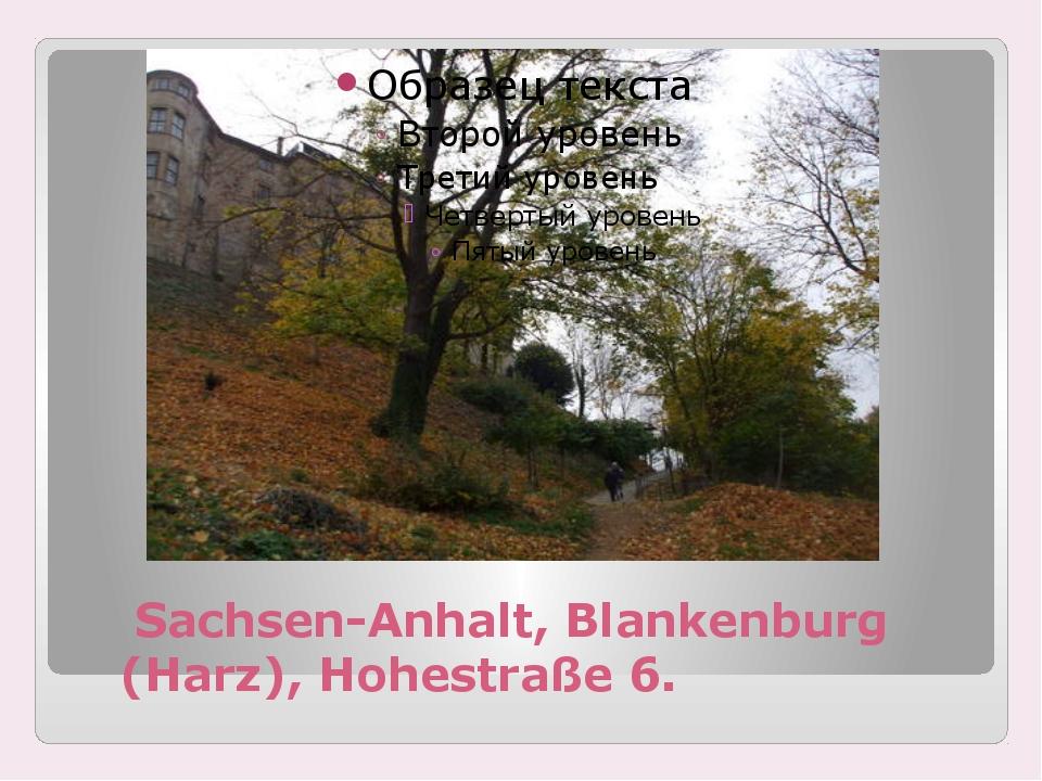 Sachsen-Anhalt, Blankenburg (Harz), Hohestraße 6.