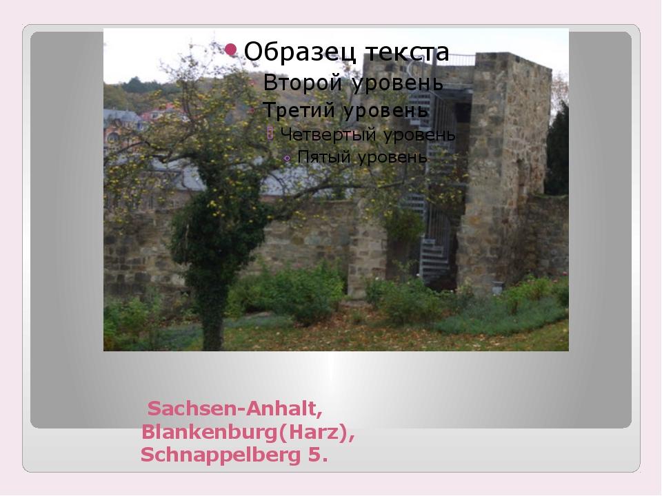 Sachsen-Anhalt, Blankenburg(Harz), Schnappelberg 5.