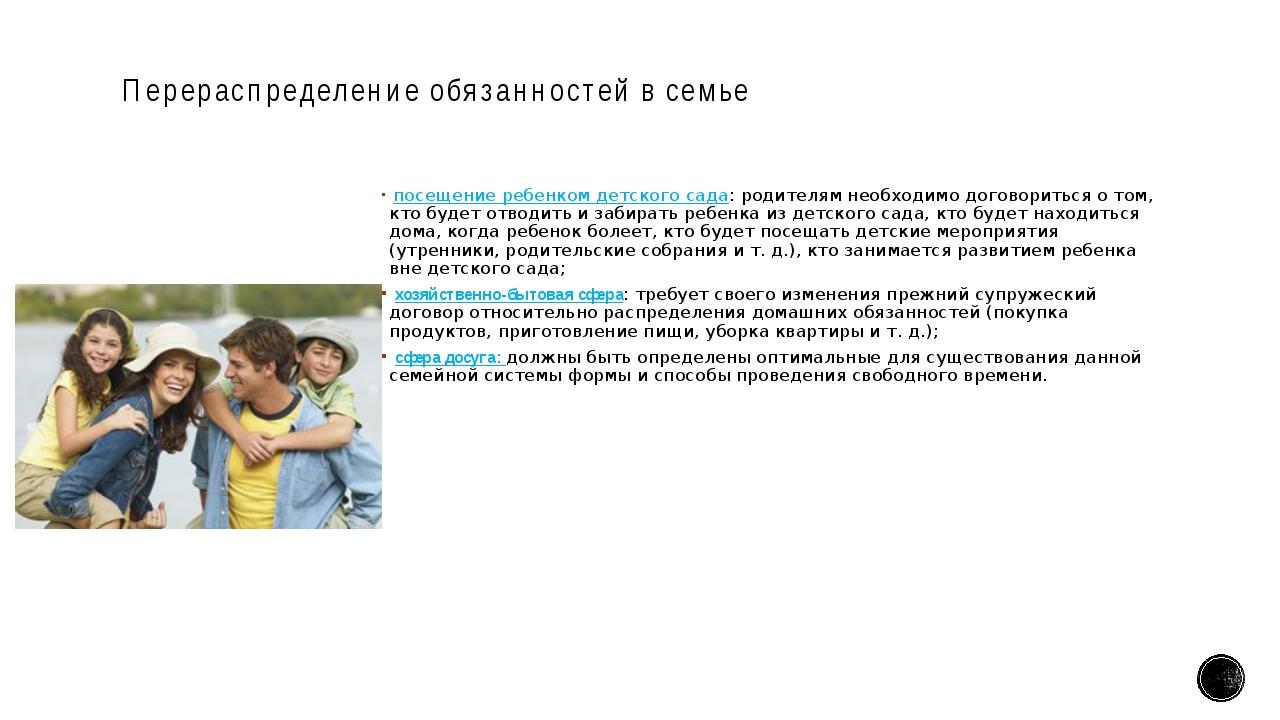 Перераспределение обязанностей в семье посещение ребенком детского сада: роди...