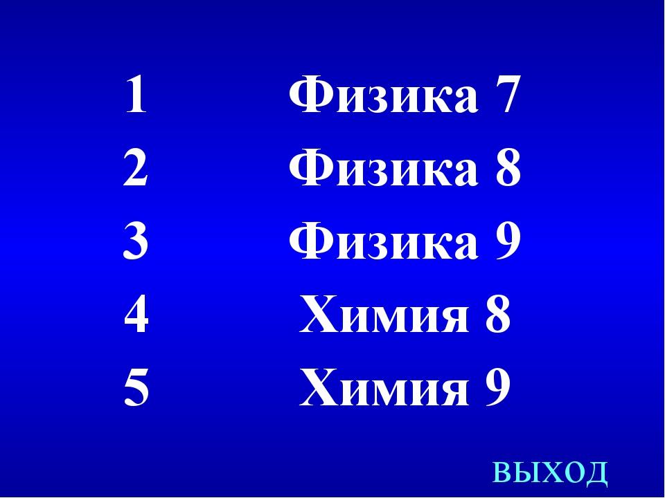 выход 1Физика 7 2Физика 8 3Физика 9 4Химия 8 5Химия 9
