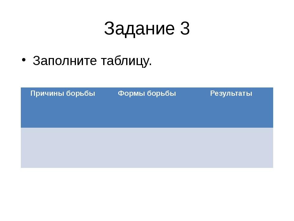 Задание 3 Заполните таблицу. Причины борьбы Формы борьбы Результаты