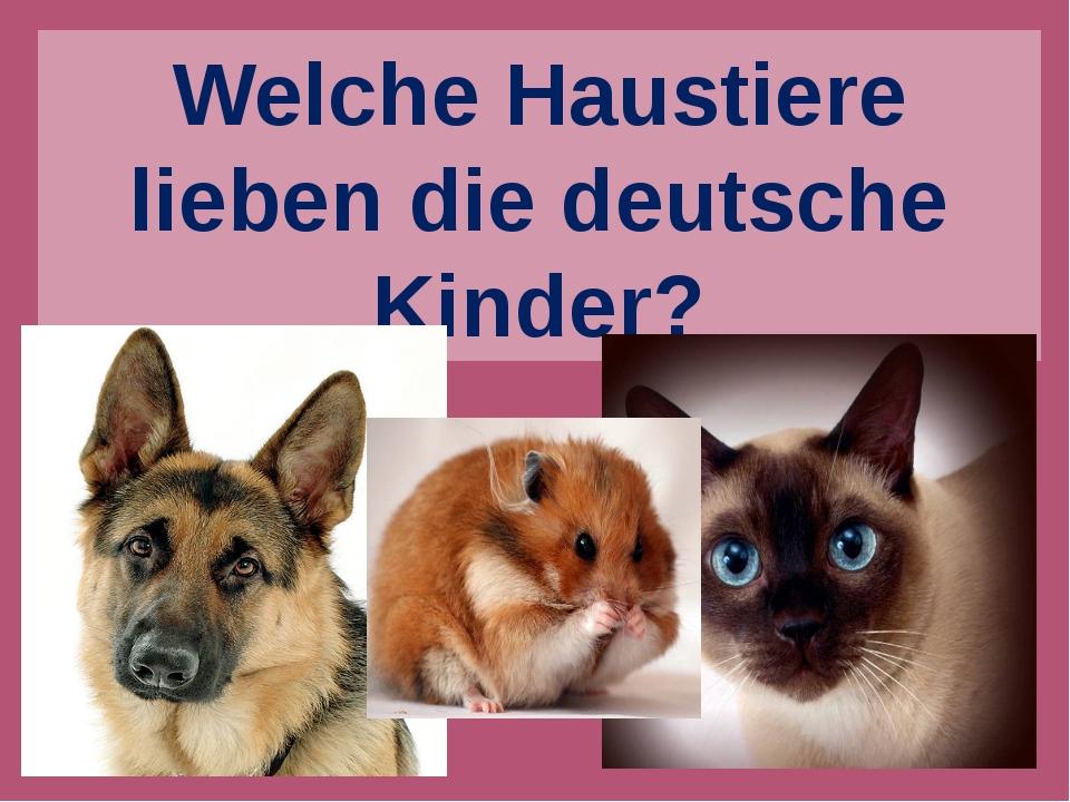 Welche Haustiere lieben die deutsche Kinder?
