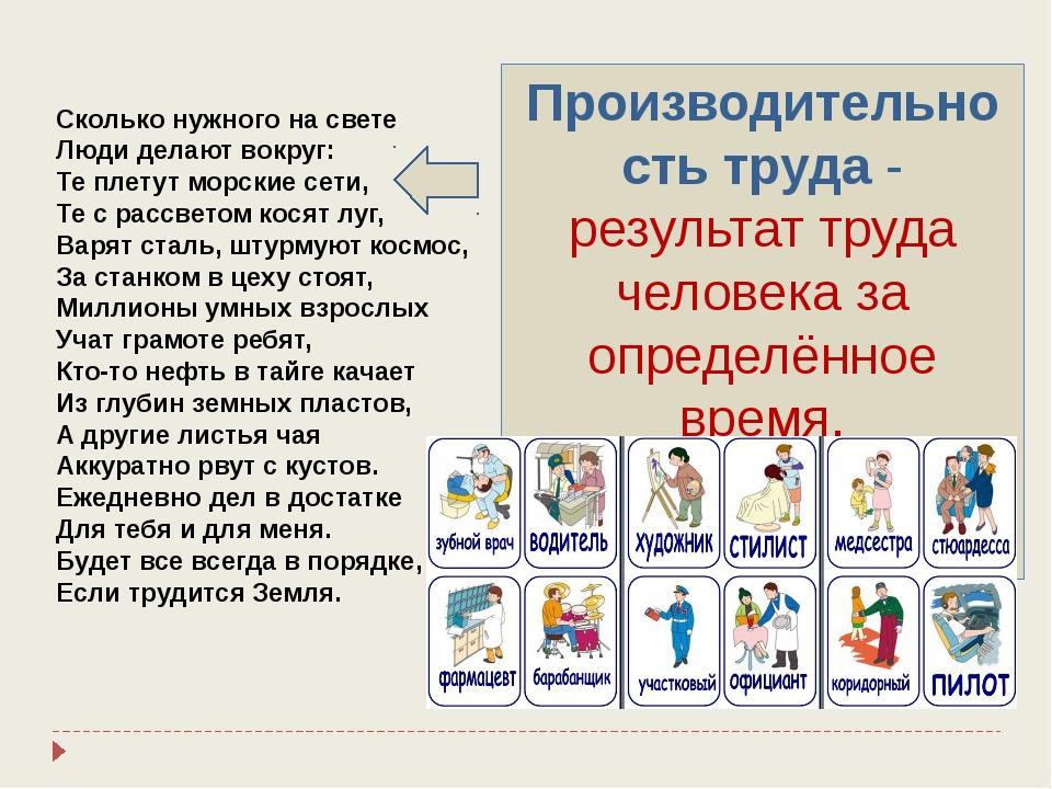 Производительность труда - результат труда человека за определённое время. (о...